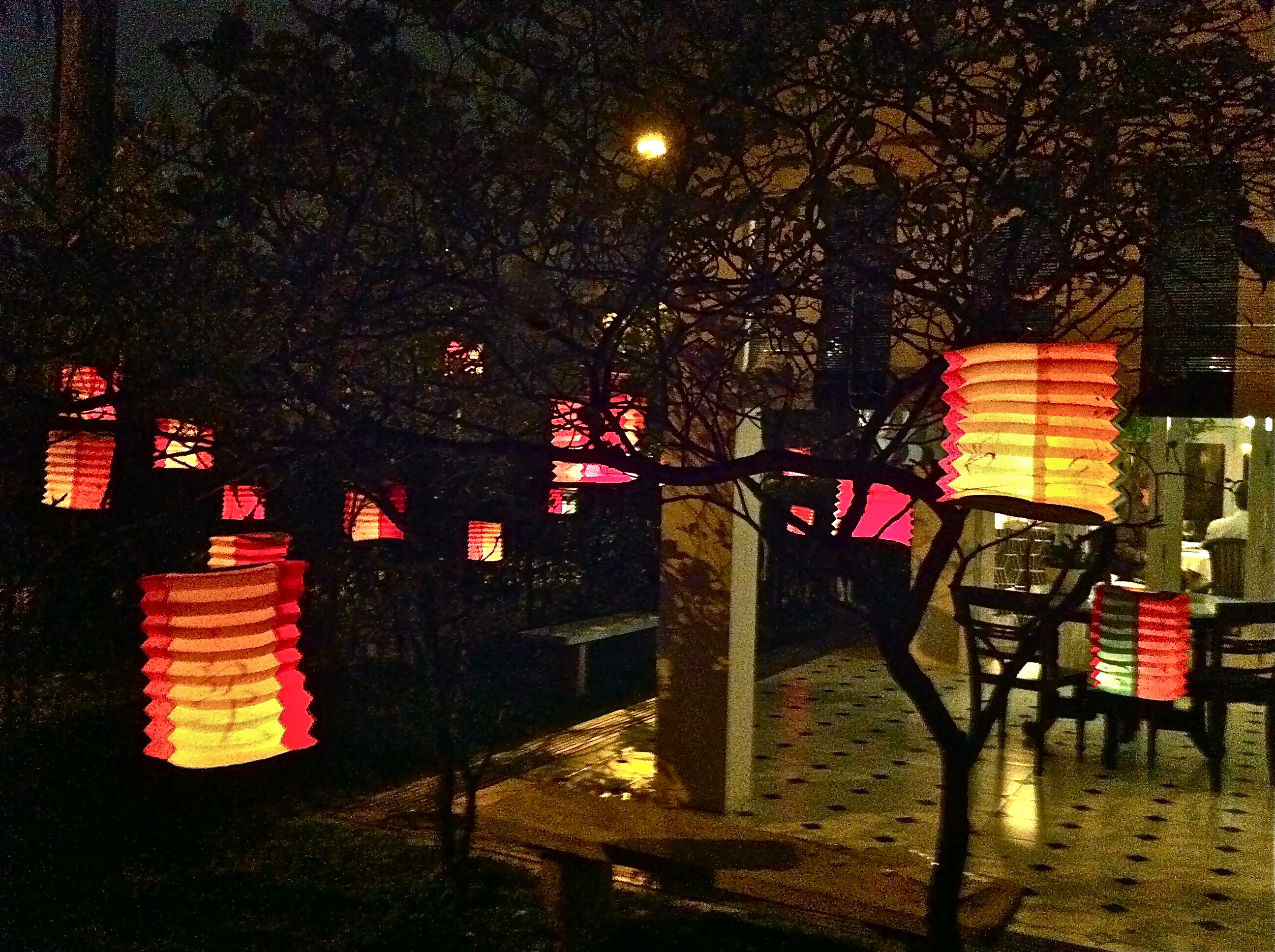 the glow of the mid autumn lanterns after the rain